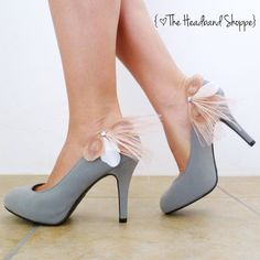 Peacock Shoe Clips  MAGGIE  Blush Pink and by TheHeadbandShoppe, $44.00