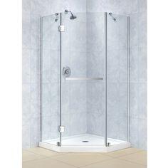 DreamLine Prism-X 34-3/8 x 34-3/8 Frameless Hinged Shower Enclosure | Overstock™ Shopping - Big Discounts on DreamLine Shower Doors