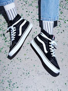 Blk/Wht Vans Hi Sk8 Sneakers, super cute with a pair of mom jeans.