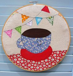 bunting and coffee cup