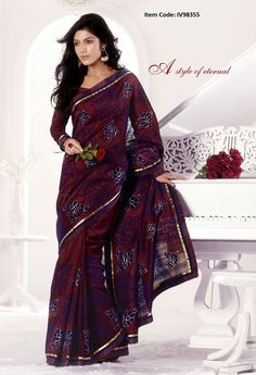 Exquisite Brick Red Embroidered Saree @ £ 59.00