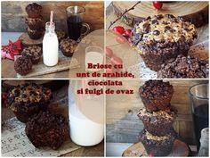 Briose cu unt de arahide, ciocolata si fulgi de ovaz Cheesecakes, Cereal, Cupcakes, Breakfast, Food, Morning Coffee, Cupcake Cakes, Essen, Cheesecake