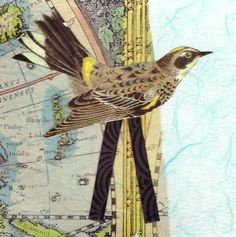 Bird on Stilts collage on paper featuring vintage by paperwerks #etsy $25.00