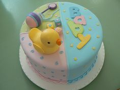 Gorgeous colours for neutral baby shower cake!