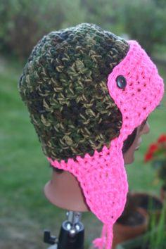 90acbfc336e Camo Pink Crochet Aviator Hat - Lumberjack Style Crochet Hat - Unisex Crochet  Hat - Womens Crochet Hat - Teen Crochet Hat