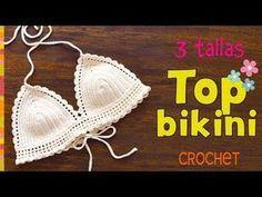 Top modelo bikini con bordes de ondas tejido a crochet en 3 tallas - Tejiendo Perú - Смотреть видео бесплатно онлайн Crochet Halter Tops, Motif Bikini Crochet, Crochet Doily Rug, Bikinis Crochet, Crochet Bra, Crochet Motifs, Crochet Round, Crochet Patterns, Crochet Flor