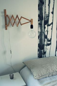 interested light fixture I want it to have a charging outlet on it so I dont have to buy such long chargers in order to read in bed Home Decor Inspiration, Light Fittings, Diy Lighting, Bedside Wall Lights, I Love Lamp, Wall Lights, Diy Lamp Shade, Bedside Lighting, Bed Lights