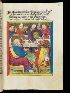 "Representation of ""The Last Supper"" in a 15th century manuscript. on Flickr.  Manuscript title: Devotionale Abbatis Ulrici Rösch  Manuscript summary: The devotional book of Abbot Ulrich Rosch of St. Gall contains various prayers, timetables and calendars, is decorated with elaborate initials and was written in the year 1472.   Origin: Wiblingen (Germany)  Period: 15th century  Image source: Einsiedeln, Stiftsbibliothek, Codex 285(1106), p. 179 – Devotionale Abbatis Ulrici Rösch (…"