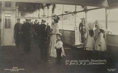 "Kaiser Wilhelm II. an Bord der ""Hohenzollern"", German Emperor on his yacht with the russian imperial family 