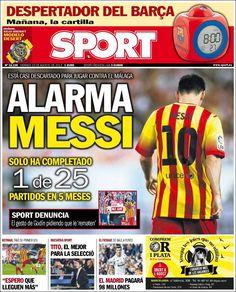 Los Titulares y Portadas de Noticias Destacadas Españolas del 23 de Agosto de 2013 del Diario Deportivo SPORT ¿Que le pareció esta Portada de este Diario Español?