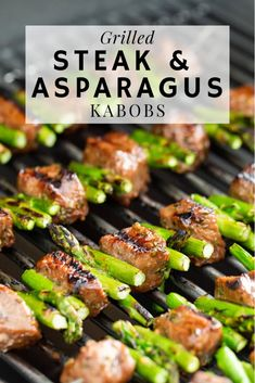"""Grilled Steak and Asparagus Kabobs are a spring grilling staple. Marinated steak and fresh asparagus cooked on my Weber Genesis II is the perfect way to kick of my sponsored relationship with The Home Depot for the """"Always-On"""" Grill Campaign. Our goal is Beef Recipes, Cooking Recipes, Healthy Recipes, Best Bbq Recipes, Barbecue Recipes, Weber Grill Recipes, Best Barbecue Grills, Griddle Recipes, Cooking Pasta"""