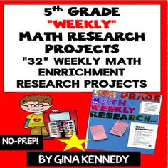 5th Grade Math Enrichment Research Projects for the Entire Year! From calculating how much food an animal eats in a week to converting the longest rivers, your students will love these research projects. Great for early finishers, advanced learners and whole class fun.