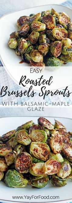 Roasting Brussels sprouts bring out the nutty sweetness of the Brussels sprouts. It's paired with balsamic-maple glaze! vegan | gluten-free | paleo