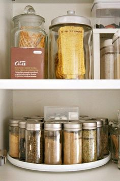 Keep spice jars on a lazy Susan so you can actually reach all of them. | 29 Things You Can Do Right Now To Get Your Kitchen Organized: