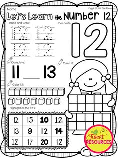 Let's Learn the Number 12. 170 pages of NO PREP number printables. Teaches MATH: number sense and counting. Perfect for your kindergarten and pre-kindergarten classroom.$