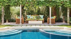 This New Palm Beach House Is Bursting With Old Florida CharmWe Have the Ultimate (Blue) Crush on This Surfer-Chic Beach House Tropical Backyard, Tropical Landscaping, Landscaping With Rocks, Tropical Decor, Landscaping Ideas, Backyard Landscaping, Comin Home, Chic Beach House, Seaside Style