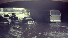CTA bus and cars on flooded State Street and Roosevelt Road on June 10, 1967 (Chicago Pin of the Day, 01/22/2017).