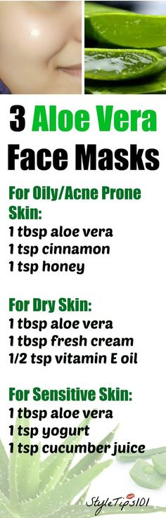 These 3 aloe vera face masks for every skin type will leave your skin radiant and glowing! No matter if you have acne prone, oily, dry, or sensitive skin, aloe vera has amazing medicinal properties that can cure even the most stubborn skin problems. Skin Tips, Skin Care Tips, Mask For Dry Skin, Skin Mask, Aloe Vera Face Mask, Aloe Face, Aloe Vera For Face, Piel Natural, Homemade Face Masks