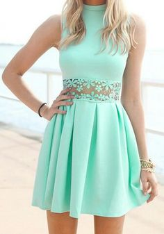 6b5f52039  juvenil ❤  Moda 👗  Dresses 💃 Vestidos Verde Agua Cortos