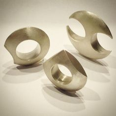 Deka's very own @elenathiveou has just completed this brilliant set of rings. Wear them around your neck or on one hand, these are @statementjewelry extraordinaire. Hollow rings, sterling silver, handmade.