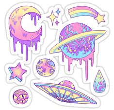 Stickers Pastel Galaxy Sticker<br> Stickers featuring millions of original designs created by independent artists. Decorate your lapto. Stickers Cool, Stickers Kawaii, Tumblr Stickers, Laptop Stickers, Planner Stickers, Galaxie Pastel, Kawaii Drawings, Cute Drawings, Pastel Galaxy