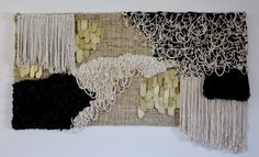 "Oroboro Indigo Weaving by Janelle Pietrzak of All Roads. Custom wall hanging for Oroboro store in Brooklyn. Contact Oroboro for purchasing. 80"" wide x 42"" high. Cotton, brass, hemp, indigo dyed cotton, merino wool."