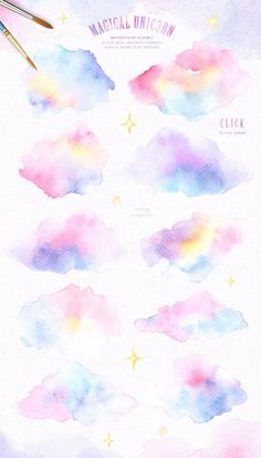The magical unicorn watercolor set rainbow clipart woodland etsy. Pastel Watercolor, Watercolor Texture, Watercolor Background, Watercolor Paintings, Watercolor Clouds, Body Painting, Ciel Pastel, Rainbow Clipart, Aquarell Tattoo
