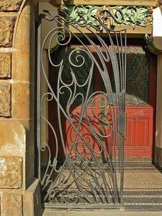 Art Nouveau...                                                  ......pretty wire work.  Cloisonné pattern??