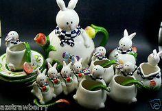 rabbit tea sets | ... Figural Spring Easter Bunny Rabbit Tea Set Cups Tea Pot Spoons | eBay