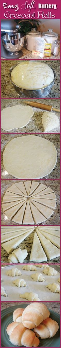 "Easy, Soft, Buttery, Crescent Rolls ""No more processed Pillsbury! Best Crescent Rolls Ever Recipe ~ absolute BEST. Not only is the recipe easy, but they come out so soft and buttery and they just melt in your mouth"" I Love Food, Good Food, Yummy Food, Great Recipes, Favorite Recipes, Dinner Recipes, Yummy Recipes, Do It Yourself Food, Snacks"