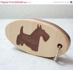 Scottish Terrier Scottie Dog  Key Chain Wood by OohLookItsARabbit, $12.75