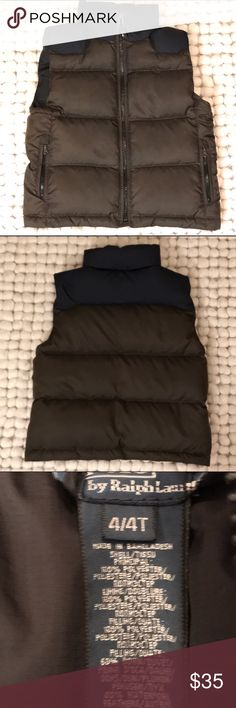 Ralph Lauren Boys 4T Down Vest EUC Ralph Lauren Boys 4T Down Vest EUC. Dark hunter green and navy. Navy polo emblem on right hear in navy thread. Discreet. Worn once or twice. Basically new. Ralph Lauren Jackets & Coats Vests
