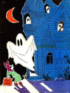 Scholastic Haunted House Glow-in-the-Dark poster illustrated by Bernice Myers (1980) via SECRET FUN BLOG