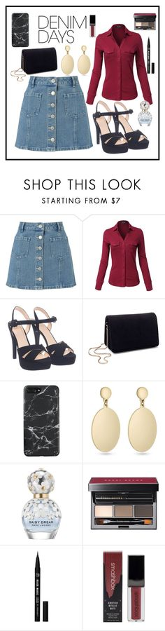 """""""Untitled #337"""" by kaira54321 ❤ liked on Polyvore featuring Miss Selfridge, Laundry by Shelli Segal, Marc Jacobs, Bobbi Brown Cosmetics, Smashbox and denimskirts"""
