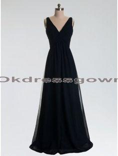 formal black off-shoulder v-neck long cheap chiffon prom dress, prom dress under 150