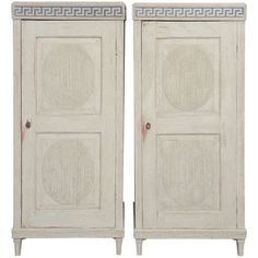 Pair of 19th Century Antique, Late Gustavian Cabinets | See more antique and modern Cabinets at http://www.1stdibs.com/furniture/storage-case-pieces/cabinets Greek key cabinet detail