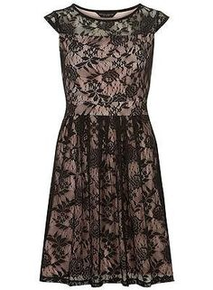 Black and Blush Lace Dress Size 12 Dorothy Perkins