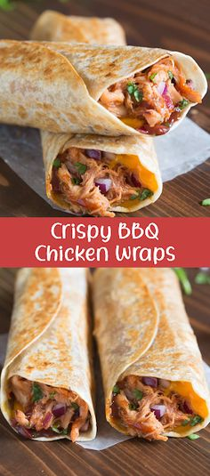 Crispy bbq chicken wraps Nothing better than a little Hawaiian twist to BBQ chicken, layered inside a tasty wrap! These Hawaiian BBQ Chicken Wraps are EASY, healthy and delicious. Bbq Chicken Wraps, Chicken Bacon, Butter Chicken, Chicken Bites, Chicken Pizza, Rotisserie Chicken, Healthy Chicken Wraps, Buffalo Chicken, Barbecue Chicken