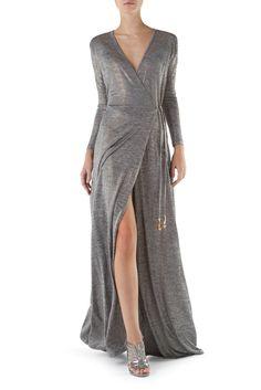 Silver Jersey Wrap Dress