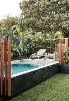 Backyard Pool Landscaping, Swimming Pools Backyard, Swimming Pool Designs, Pool Fence, Pool Decks, Pool With Deck, Glass Pool Fencing, Small Swimming Pools, Small Backyard Design