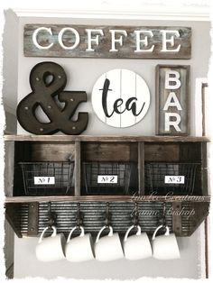 Coffee Bar Ideas - Looking for some coffee bar ideas? Here you'll find home coffee bar, DIY coffee bar, and kitchen coffee station. Coffee Nook, Coffee Bar Home, Coffee Wine, Diy Coffee Table, My Coffee, Coffee Bar Design, Diy Coffee Shelf, Coffee Beans, Coffee Bar Ideas