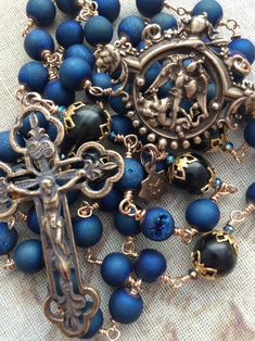 Michael the Archangel Handmade Druzy Agate Rosary Religious Jewelry, Religious Art, Blue Tigers Eye, Old World Style, Ancient Symbols, Rosaries, Archangel, St Michael, Crucifix