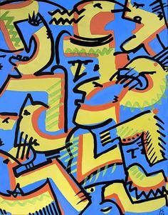 Jean Michel GARACHON -  Blues in yellow acrylique sur toile (65x50cm)