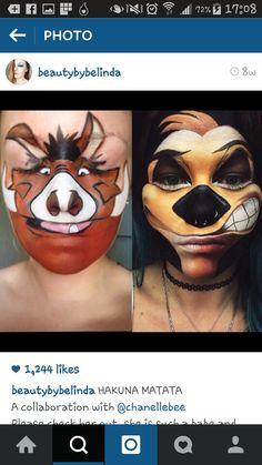 Tamon and pumba! Disney Character Makeup, Disney Makeup, Lion King Timon, Lion King Jr, Cosplay Makeup, Costume Makeup, Face Painting Designs, Body Painting, Lion King Costume