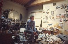 Francis Bacon in his studio in London in 1974  Photo: Michael Holtz/Photo12 - See more at: http://uk.blouinartinfo.com/photo-galleries/francis-bacon-invisible-rooms-at-tate-liverpool?image=1#sthash.h3Wqhfg1.dpuf;