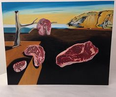 Persistence of Meat, 11x14, oil on panel.  Finally finished this painting, and I think it's my best one yet!  ArtCenter #artcenterworks #painting #oilpainting #paint #clocks #meat #carne #meating #salvadordali #dali #surrealism #art #beginner #artist #masterstudy #twist #surreal #food #raw #done #ontothenextone #panel  #persistenceofmemory #creepmachine @creepmachine