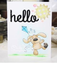 Daydreaming to Create, Crissy Armstrong 'Doggie with kite', Clearly Whimsy 'Happy Hello', Copic Markers, card