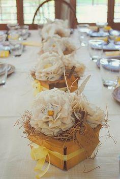 Western Wedding Centerpiece   http://simpleweddingstuff.blogspot.com/2014/01/western-wedding-centerpiece-ideas.html