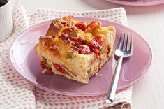 This family-pleasing breakfast dish, made with bacon, eggs, tomatoes and crusty bread, is assembled ahead of time for added convenience. Then, pop this easy Bacon and Tomato Strata in the oven in the morning while you get ready to start your day and let the smell of the bacon overtake you!