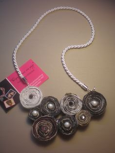 Handmade necklace made from magazine pages and decorated with pearls and Hunt. Working time 5 hours
